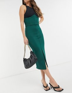 Exclusive midi skirt with split and detailed waist in forest green