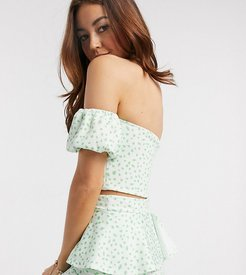 exclusive off shoulder puff sleeve crop top two-piece in green fleck print