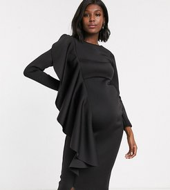 midi dress with frill detail in black