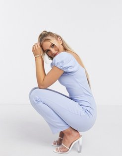 puff sleeve jumpsuit in pale blue-Blues