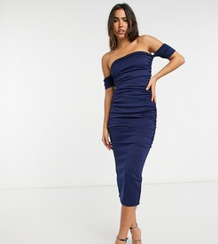 ruched body-conscious midi dress in navy