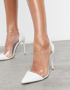 bridal clear stiletto heel shoes in white