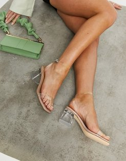 clear heeled sandals-Neutral