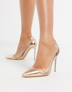 clear stiletto heeled shoes in rose gold-Copper