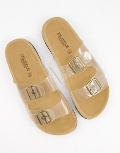 double buckle sandals in clear