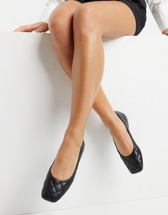 padded square toe ballet flats in black