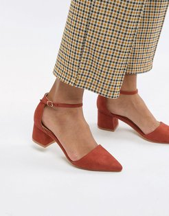 Pointed Mid Heels-Red