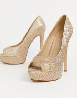 sparkly peep toe platform heeled shoes in light gold