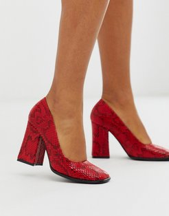 square toe block heeled shoe in red snake
