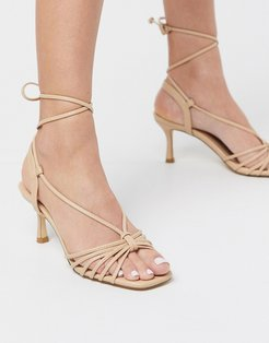 strappy mid heeled sandals in beige