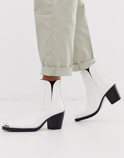 western toe cap boots in white