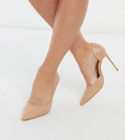 wide fit stiletto heeled shoes in beige-Neutral