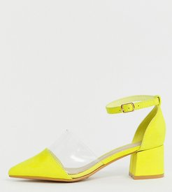 Wide Fit Transparent Pointed Heels in neon-Brown