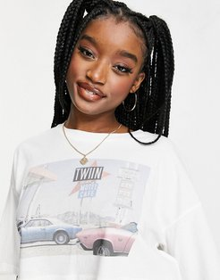 beach cropped oversized T-shirt in white