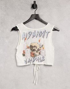 reversible beach tank top with ruching detail in white