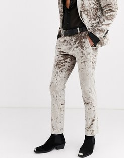crushed velvet suit pants in champagne-Yellow
