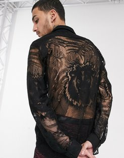 lace shirt with palm and tiger print in black