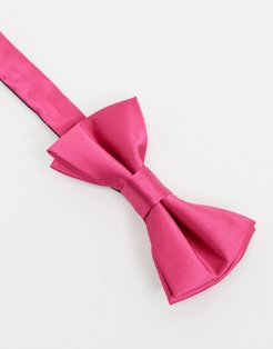 satin bow tie in hot pink