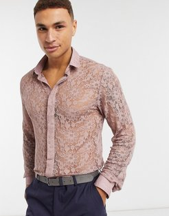skinny shirt in pink floral lace
