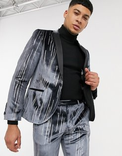 suit jacket with satin lapel in gray velvet with silver detail-Grey