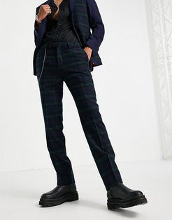 suit pants in green and navy check