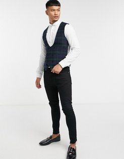 suit vest in green and navy check