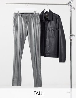 TALL skinny pants with silver pinstripe in black