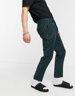 tapered crop pants in green pinstripe