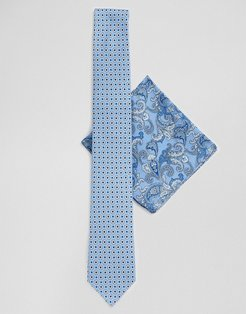 tie and pocket square set in blue floral paisley