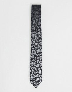 tie with faded skull print in black