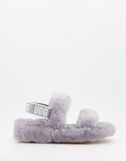 Oh Yeah double strap flat sandals in soft amethyst-Grey