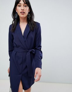 Unique 21 tailored belted wrap dress-Navy