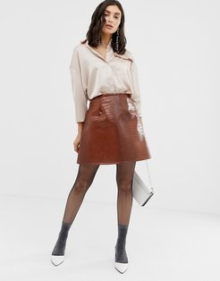 faux leather a line skirt-Brown