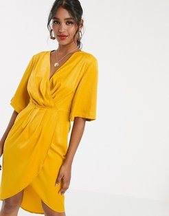 luxe stain pleated wrap midi dress-Yellow