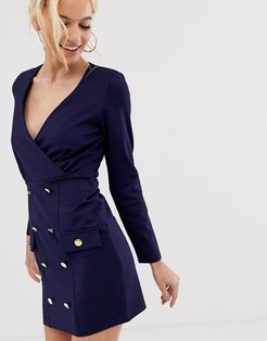 shift dress with gold buttons-Navy