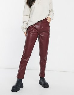 faux leather straight leg pants in burgundy-Red