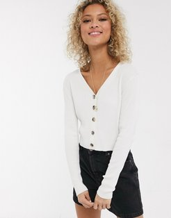 knitted top with buttons-Cream
