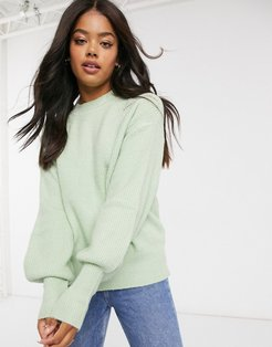 volume sleeve knitted sweater in light green