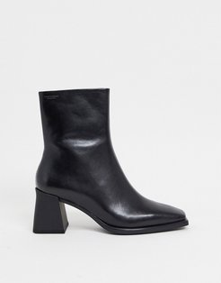 Hedda heeled ankle boot with flared heel in black