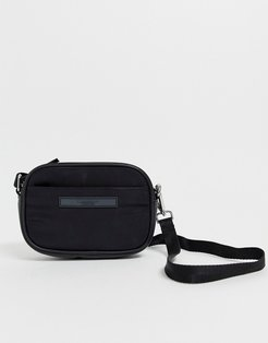 Hong Kong black nylon camera cross body bag