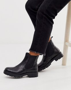 Kenova black leather chunky flat ankle boots