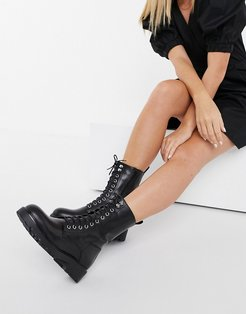 Kenova leather lace-up chunky flat ankle boots with warm lining in black