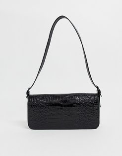 LA croc effect shoulder bag in black