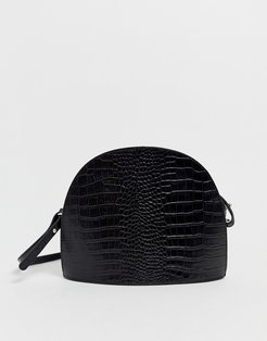 Shannon black croc leather dome cross body bag