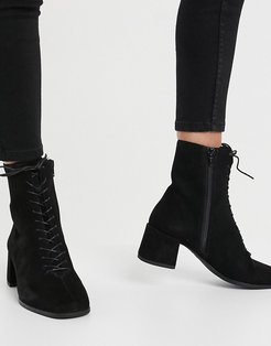 Stina lace up mid heeled ankle boot in black