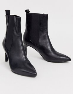 Whitney black leather heeled ankle boots