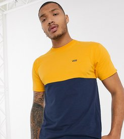 color block t-shirt in navy/yellow Exclusive at ASOS-Copper