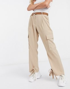 cargo belted pants in tan-Neutral