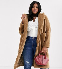 longline teddy coat with pocket detail in camel-Brown