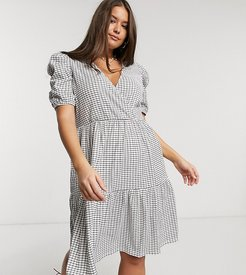 midi wrap dress with puff sleeves in white check-Multi